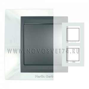 Рамка 2-я вертикальная Нордик/Графит MGU66.004V.292 Unica Top Schneider Electric